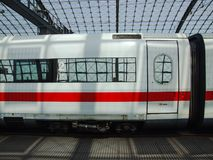 Class 401 DB ICE High Speed Train in Berlin Central terminal. Class 401 DB ICE-1 High-Speed Train Intercity Express, in upper level of Berlin Hauptbahnhof Stock Photo