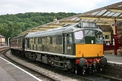 Class 25 Diesel D5185 Locomotive at Keighley, Keighley and Worth. Valley Railway, West Yorkshire, UK - June 2008 royalty free stock photography