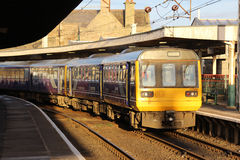 Class 142 and 144 dmu trains at Carnforth station Stock Image