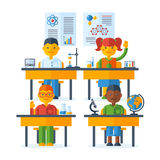 Class at the elementary school. Pupils raising hands, class at the elementary school. Back To School education concept with schoolers. Vector Illustration. Happy royalty free illustration