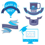 Class of 2017. Five mnemonics on Class of 2017 in blue Royalty Free Stock Photo