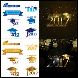 Class of 2017. Four designs with Class of 2017 text and graduation cap in gold and blue royalty free illustration