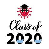 Class of 2020 funny typography poster with cute cartoon coronavirus, graduation hat and protective mask. COVID-19 quarantine