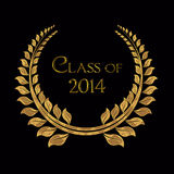 Class of 2014 gold laurel. Graduation gold laurel on black for 2014 Royalty Free Stock Images