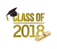 Class of 2018 gold sign illustration design Royalty Free Stock Image