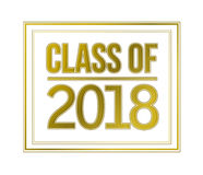 Class of 2018 gold sign illustration design Stock Photography
