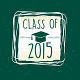 Class of 2015 with graduate cap with tassel in frame over green. Class of 2015 text with graduate cap with tassel - mortarboard, in frame over green old paper royalty free illustration