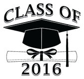 Class of 2016 - Graduate. Is an illustration of a design that shows your pride as a graduate of the class of 2016. Includes a cap, text and diploma. Great for t Stock Photo