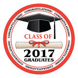 Class of 2017 Graduates. Is a design that shows your pride as a graduate of the class of 2017. Includes a cap, text and diploma. Great for graduation t-shirt Royalty Free Stock Photography