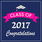 Class of 2017 graduation banner. Vector illustration Stock Image
