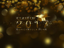 Class of 2017. With graduation cap in gold on a black background Royalty Free Stock Image