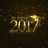 Class of 2017. With graduation cap in gold on a dark background with stars and sparkles stock illustration
