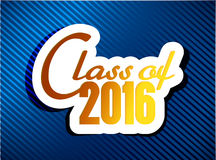Class of 2016. graduation illustration design. Over a blue background Stock Photos