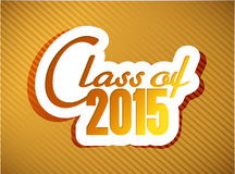 Class of 2015. graduation illustration design. Over a gold background Royalty Free Stock Photo