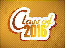 Class of 2016. graduation illustration design. Over a gold background Stock Photo
