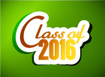 Class of 2016. graduation illustration design. Over a green background Stock Photography