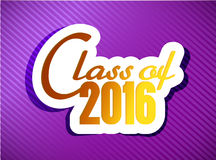 Class of 2016. graduation illustration design. Over a purple background Stock Photos