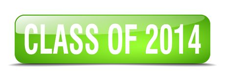 Class of 2014 green square 3d realistic web button. Class of 2014 green square 3d realistic isolated web button stock illustration