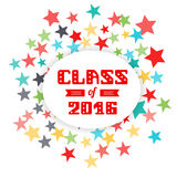 Class of 2016. High School Graduate, College Graduate. fireworks background of stars. Vector lettering Royalty Free Stock Photos