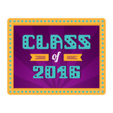 Class of 2016. High School Graduate, College Graduate. Retro frame with lamps. Vector lettering Stock Photo