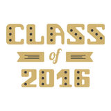 Class of 2016. High School Graduate, College Graduate. Vector lettering Royalty Free Stock Images