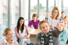 Class at high school - students in classroom Royalty Free Stock Images