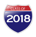 Class of 2018 Interstate Sign Royalty Free Stock Images
