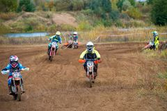 Class Juniors absolute. SERPUKHOV, RUSSIA - OCTOBER 7, 2017: Lozinskiy Grigoriy 43, Class Juniors absolute, in the 4 stage MX series, the Red Wings Cup 2017 stock images