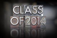 Class of 2014 Letterpress. The words Class of 2014 written in vintage letterpress type Stock Photography