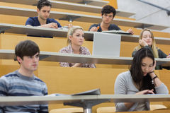 Class listening in a lecture hall. Students listening in a lecture hall  in college and taking notes Royalty Free Stock Image