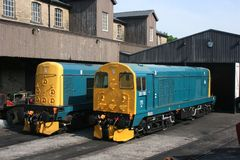 Class 20 locomotives 20087 and 20110 at Haworth, Keighley and Wo. Rth Valley Railway, West Yorkshire, UK - June 2008 Stock Image