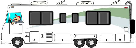 Class A motorhome. This illustration depicts a man driving a class A motorhome Stock Image