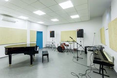 Class music lessons of the Academy of modern education interior Royalty Free Stock Photos