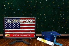 Free Class Of 2020 Virtual Graduation Ceremonies Live Broadcast Due To Covid-19 Stock Photos - 183228313