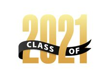 Free Class Of 2021 Gold Lettering Graduation 3d Logo With Ribbon. Graduate Design Yearbook Vector Illustration Royalty Free Stock Photography - 205083287