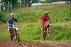 Class OPEN-ABCD. MOSCOW, RUSSIA - JULY 1, 2017: 999 Unidentified athletes,  class OPEN-ABCD, in the Velyaminovo Race Weekend 2017, Motopark Velyaminovo Stock Photo