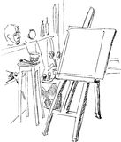 Class on painting. An easel is prepared to work vector illustration