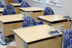 In Class Primary School. Desks and chairs in Class Primary School Royalty Free Stock Image