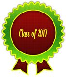 CLASS OF 2017 on red and green round ribbon badge. Illustration Stock Photo
