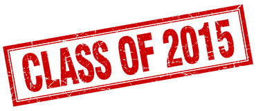 Class of 2015 red square grunge stamp. On white stock illustration