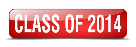 Class of 2014 red square realistic isolated web button. Class of 2014 red square 3d realistic isolated web button vector illustration