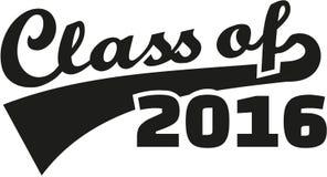 Class of 2016 retro font. Vector stock illustration