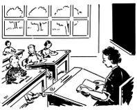 Class 01. Retro style black and white class students teacher stock illustration