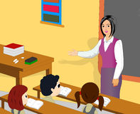 Class room. An illustrator image for children studying in school Stock Photography