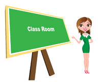 Class room with board and teacher Royalty Free Stock Image