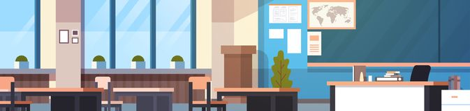 Class Room Interior Horizontal Banner Empty School Classroom With Board And Desks Royalty Free Stock Images
