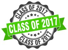 Class of 2017 seal. stamp. Class of 2017 round seal isolated on white background. class of 2017 Stock Image
