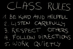 Class rules. Important class rules (chalk on blackboard royalty free stock photo