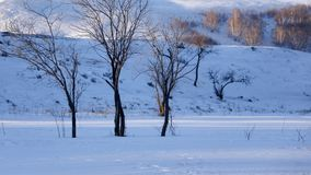 Class scenery: Inner Mongolia dam small snow scene Stock Photo
