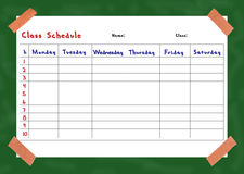 Class schedule Royalty Free Stock Image